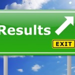 Highway sign pointing to results
